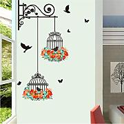(Lbonb) Colorful Flower Birdcage Wall Sticker