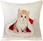 LEEDY Xmas Christmas Cat throw Pillow case,