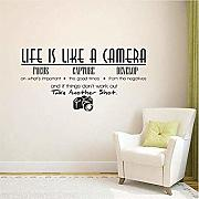 Life Is A Camera Quote Adesivo Murale Decorazioni