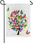 LL-Shop Art Tree with Butterflies Burlap Garden