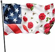 LL-Shop Flowers with Us Flag Home Garden Flag Yard