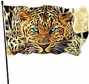 LL-Shop Leopard with Blue Eyes Guard Flag 3x5ft