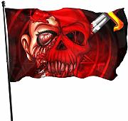 LL-Shop Red Halloween Skull Head Spaventoso Gory