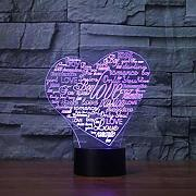 Luce notturna 3D Colorful Love Heart Collage 3D