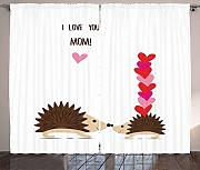 LULUZXOA Baby Shower Curtains, Hedgehog Family