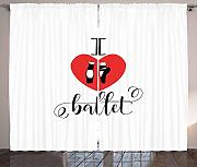 LULUZXOA Dance Curtains, I Love Ballet Phrase with