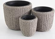 Luxurygarden - Portavaso in rattan set 3 vasi in