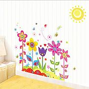 Mddjj  Cartoon Fiori Piante Sun Wall Stickers Per