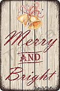 Merry And Bright Tin 20 x 30 cm Vintage Look
