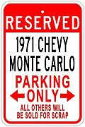Metal Sign 1971 71 Monte Carlo Parking Sign Gift