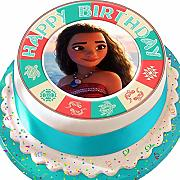 Moana Happy Birthday pretagliato commestibile