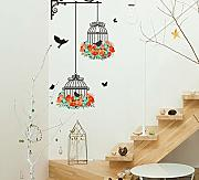 Mrhxly Romantic Flying Black Bird Birdcage Wall
