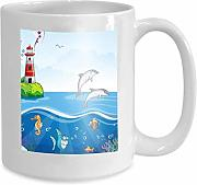 mug coffee tea cup children s lighthouse sea