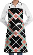 N/A Coral Mint Plaid Chef Apron with Bib Apron