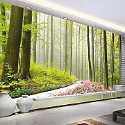NNKKBH Natural Forest 3D Wall Mural Flowers Around