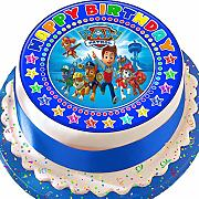 Paw Patrol blu Happy Birthday pretagliato