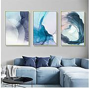Quadro astratto Wall Art Blue Ink Bloom Art Stampa