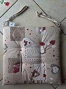 Made in Italy R.P Coppia Cuscini Sedia con Lacci cm 40x40 Tirolese Val Badia Cervi e Casette