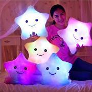 Rainbow Fox - Cuscini con luce a LED, in peluche,