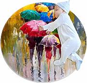 Rainy Day Oil Painting Zerbino Rotondo Lavabile