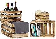 Relaxdays 10020756 Set Cassette di Legno, Marrone,