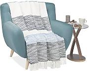 Relaxdays 10021179 Coperta Plaid con Frange,