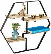 Scaffale per Libri /& Decorazioni Truciolato Bianco 1 pz Relaxdays Mensola HLP: 30x60x22 cm per Salotto /& Corridoio Acciaio Design Moderno