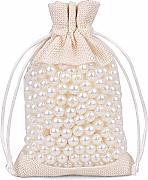 6 Pollice x 13.4 Pollice Sacchetti di Bottiglia 3PZ con Coulisse per bomboniera Fauge Bustine di Lino Tela 3 Pezzi