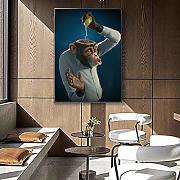 SADHAF Funny Monkey Wall Art Stampa su tela Animal