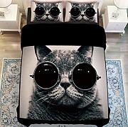 Sallypan Tessili per La Casa Black Cat with Glasses Set Copripiumini,Set di Biancheria da Letto in 3 Pezzi,Queen