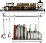SOONHUA Scolapiatti da Parete Portapentole in Metallo Appeso a Parete con 10 Ganci Portaoggetti Cucina Organizzatore 45 Cm