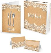 Set: 10 + 25 Segnaposto per menu carta kraft