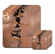 Set di 4/tovagliette e sottobicchieri di metallo arrugginito