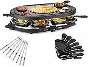 Set raclette ovale e grill con forcelle Teppan per