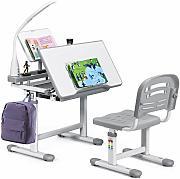 blu ideale per 3-15 anni lettore e ortesi luce di protezione per gli occhi a LED tavolo da studio regolabile in altezza con cassetti antiriflesso 4YANG Set scrivania e sedia per bambini