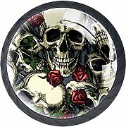 Skulls with Red Roses armadio tira maniglie