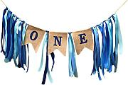 SODIAL Nastro di tela naturale ONE Primo compleanno Banner Baby Girl Boy Bunting Bandiera Baby Shower Party Decorare Ghirlanda/blu