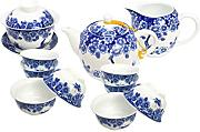 Tea Soul Set in Porcellana Blu e Bianco 11 pz, 1,