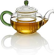 Tea Soul Teiera in Vetro con Manico Verde 350 ml,