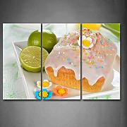 Teglia per dolci con verde limone Wall Art painting PICTURES Print on canvas food The Picture for home Modern Decoration