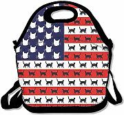 Tote Gourmet Carino Cat Flag America Lunch Bag