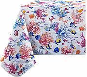 Confezioni Giuliana TOVAGLIA RESINATA ANTIMACCHIA Corallo Fiori Arancio 140x140//180//240 140x140
