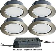 Trango Set di 4 Faretto da incasso a LED 12V AC/DC