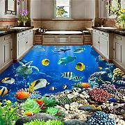 Underwater World Tropical Bathroom 3D Flooring