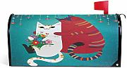 Valentine Cute White Girl Cat Flowers Magnetic