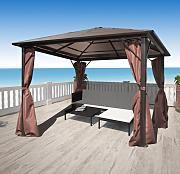 vidaXL Gazebo con Tenda Marrone in Alluminio 300 x
