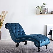 Festnight Chiase Longue Chesterfield in Similpelle Scamosciata Marrone,Sdraio Chesterfield in Ecopelle Marrone,Sedia a Sdraio Chesterfield in Ecopelle