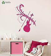 Wall Stickers Vinile Adesivo Violino Note Love