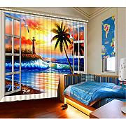 WKJHDFGB The Living Room Curtains Foto 3D Love Sea
