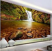 Xbwy 3D Stereo Golden Waterfall Natura Wallpaper